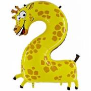 """Цифра  2 """"Жираф"""", гелиевый, фольгированный шар"""
