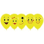 """Шар """"Ассорти смайлов"""", 30 см, гелиевый, желтый, пастель, латексный"""