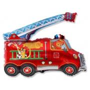 Пожарная машина, гелиевый, фольгированный шар