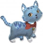 Кошечка с бантом голубая, гелиевый, фольгированный шар
