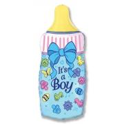 Бутылка голубая, гелиевый, фольгированный шар